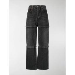 zip panel straight jeans