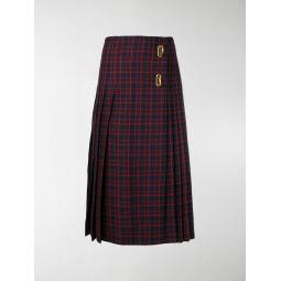 Arroux check print pleated wool skirt