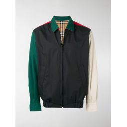 check panelled reversible cotton bomber jacket