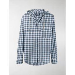 checked hybrid hoodie shirt