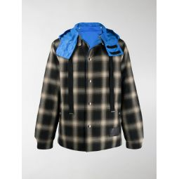 reversible check hooded jacket