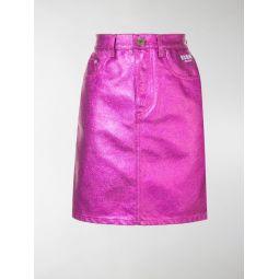 metallic denim skirt
