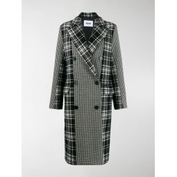 plaid and houndstooth double-breasted peacoat