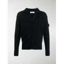 zipped logo-embroidered cardigan