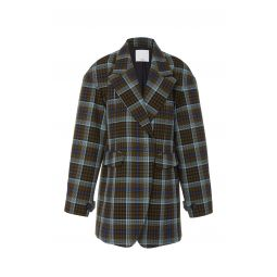 Spencer Plaid Sculpted Cotton-Blend Blazer