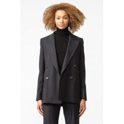 Janny Pinstripe Suit Jacket in Navy Blue