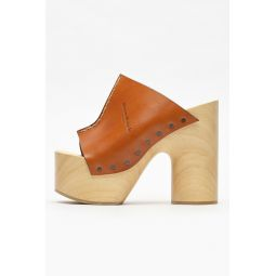 Wood Sole Heel in Brown