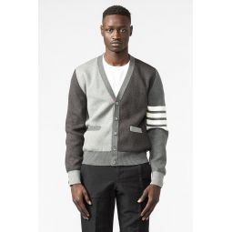 Cotton Crepe Milano Stitch V Neck Cardigan in Tonal Grey