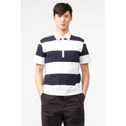 Short Sleeve Rugby Polo in Navy/White