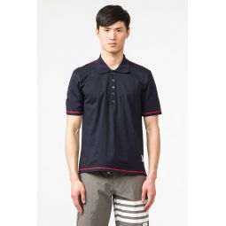 Short Sleeve Polo with Slide Slit in Navy