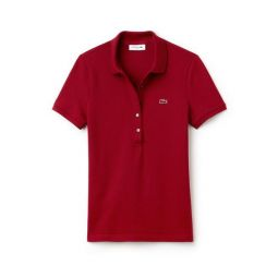WOMENS SLIM FIT STRETCH MINI COTTON PIQUEE POLO SHIRT_BORDEAUX