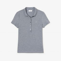 WOMENS SLIM FIT STRETCH MINI COTTON PIQUEE POLO SHIRT_GREY CHINE
