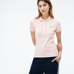 WOMENS SLIM FIT STRETCH MINI COTTON PIQUEE POLO SHIRT_LIGHT PINK