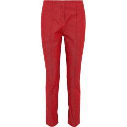 Cotton-blend twill slim-leg pants