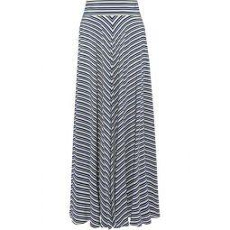 Striped silk crepe de chine maxi skirt
