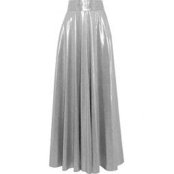 Pleated lame maxi skirt