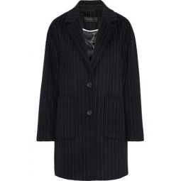 Pinstriped wool-blend coat