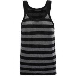 Metallic striped wool-blend tank