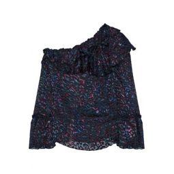 One-shoulder printed devore-chiffon blouse