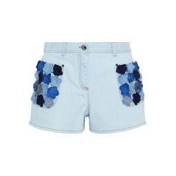 Floral-appliqued denim shorts