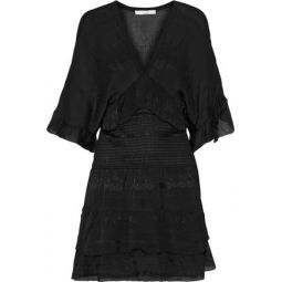 Stacy shirred embroidered georgette mini dress