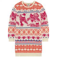Jacquard knit sweater dress - Multi Icons