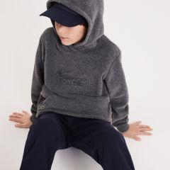 Boys Oversized Crocodile Hooded Fleece Sweatshirt