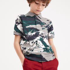 Boys Print Cotton Mini Pique Polo