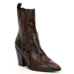 Drerissa Snake Print Western Ankle Block Heel Booties