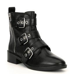 Ocauma Leather Buckle Block Heel Moto Boots
