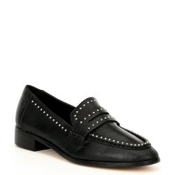 Onerracien Studded Leather Block Heel Loafers