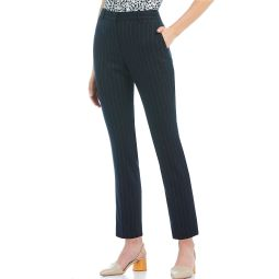 New York Pinstripe Stretch Woven Suiting Slim-Leg Ankle Pants