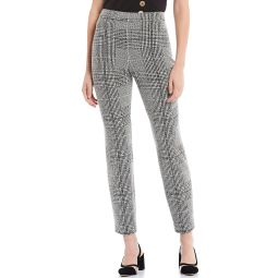 New York Plaid Print Textured Knit Side-Zip Slim Straight Leg Ankle Pants