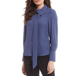 New York Tie-Neck Button Front Long Sleeve Blouse