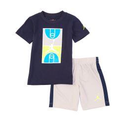Little Boys 2T-7 Short-Sleeve Court Graphic Tee & Racing-Stripe Shorts Set