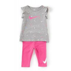 Baby Girls 12-24 Months Cap-Sleeve Swooshfetti Tunic & Solid Capri Leggings Set