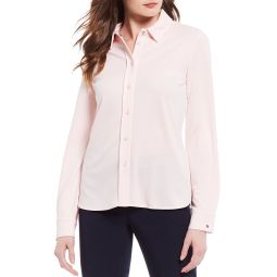 Knit Pique Button Down Long Sleeve Shirt