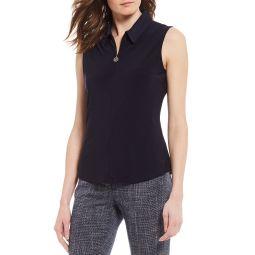 Matte Knit Jersey Quarter Zip Sleeveless Top