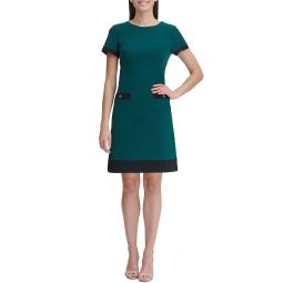 Short Sleeve Colorblock Pocket Shift Dress