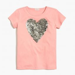 Girls sequin heart graphic T-shirt