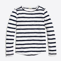 Girls long-sleeve shirttail-hem T-shirt