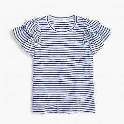 Girls flutter-sleeve T-shirt in stripes