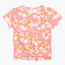 Girls tie-front T-shirt in tie-dye