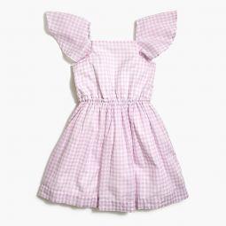 Girls flutter-sleeve dress in gingham