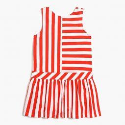 Girls bow-back dress in stripe