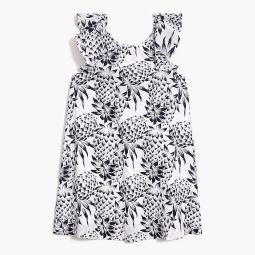 Girls flutter-sleeve dress in pineapple print