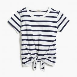 Girls tie-front T-shirt in stripes