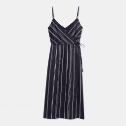 Hammered Stripe Spaghetti Wrap Dress