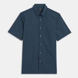 Cotton Square Print Short-Sleeve Irving Shirt