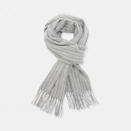 Fringe Scarf in Pinstripe Wool-Cashmere